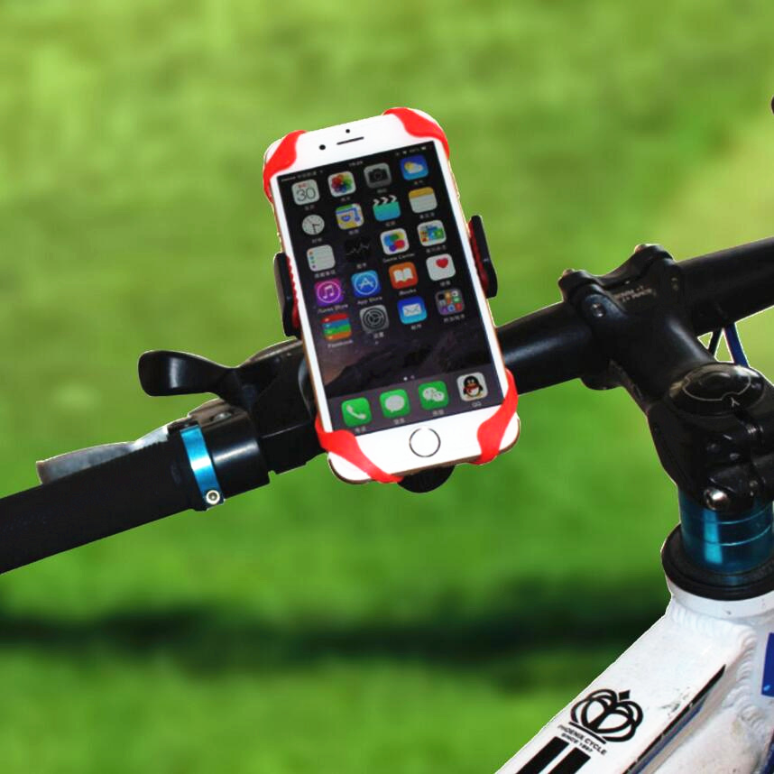 Bike Bicycle Motorcycle Handlebar Mount Holder Phone Holder With Silicone Support Band For Iphone <font><b>Samsung</b></font> XIAOMI GPS Universal image