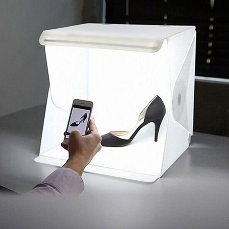 40 x 40 x 40cm Photo Studio Box Photography Backdrop Built-in Light Pho
