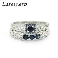 Lasamero Кольца для Для женщин 0.14ct круглой огранки природных Кольца с сапфиром 925 Серебряный Обручение Свадебные Кольца