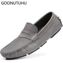 2019 new mens shoes casual suede genuine leather loafers male gray & black retro slip on shoe man fashion driving for men