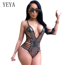YEYA Sequined Bodysuits Women Tops Summer V Neck Sleeveless Hollow Out Bodycon Jumpsuit Romper Sexy Bodysuits Combinaison Femme