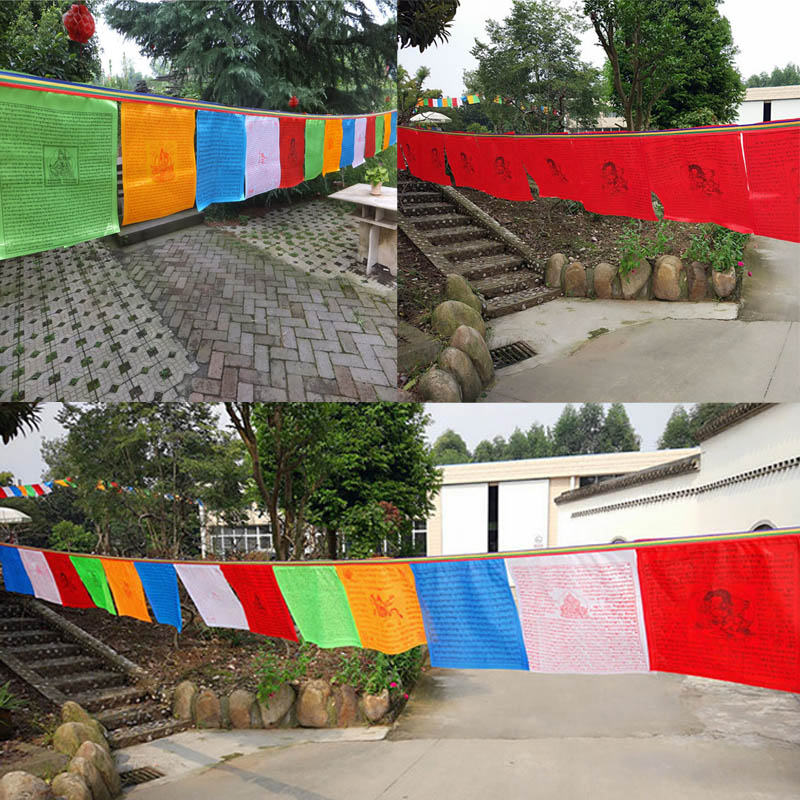 Religious Flags Tibetan Buddhist Supplies Colour Print Prayer Flag Artificial Silk Tibet Lung Ta Banner Scriptures 20 Sheet /set