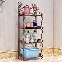 Creative Vintage wrought iron bathroom shelf Floor standing bathroom washbasin storage rack Kitchen storage shelf tools