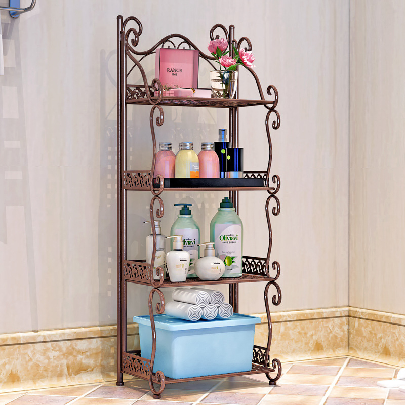 Creative wrought iron bathroom shelf Floor-standing bathroom washbasin storage rack Kitchen storage storage shelf retractable microwave oven shelf 2 layer home kitchen multi function black storage rack floor standing oven shelf wx8311515