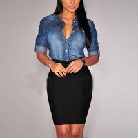 Women Lapel Button Blue Down Denim Jean Shirt Pocket Slim Top Blouse Coat Hot