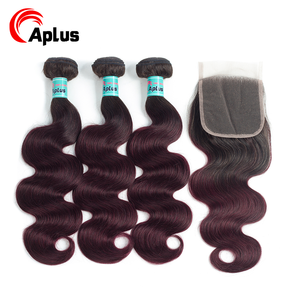 Aplus Pre-Colored Peruvian Bundles With Closure 4Pcs Ombre 1b 99j Body Wave 3 Bundels With Closure Free/Middle 3Part Non-Remy