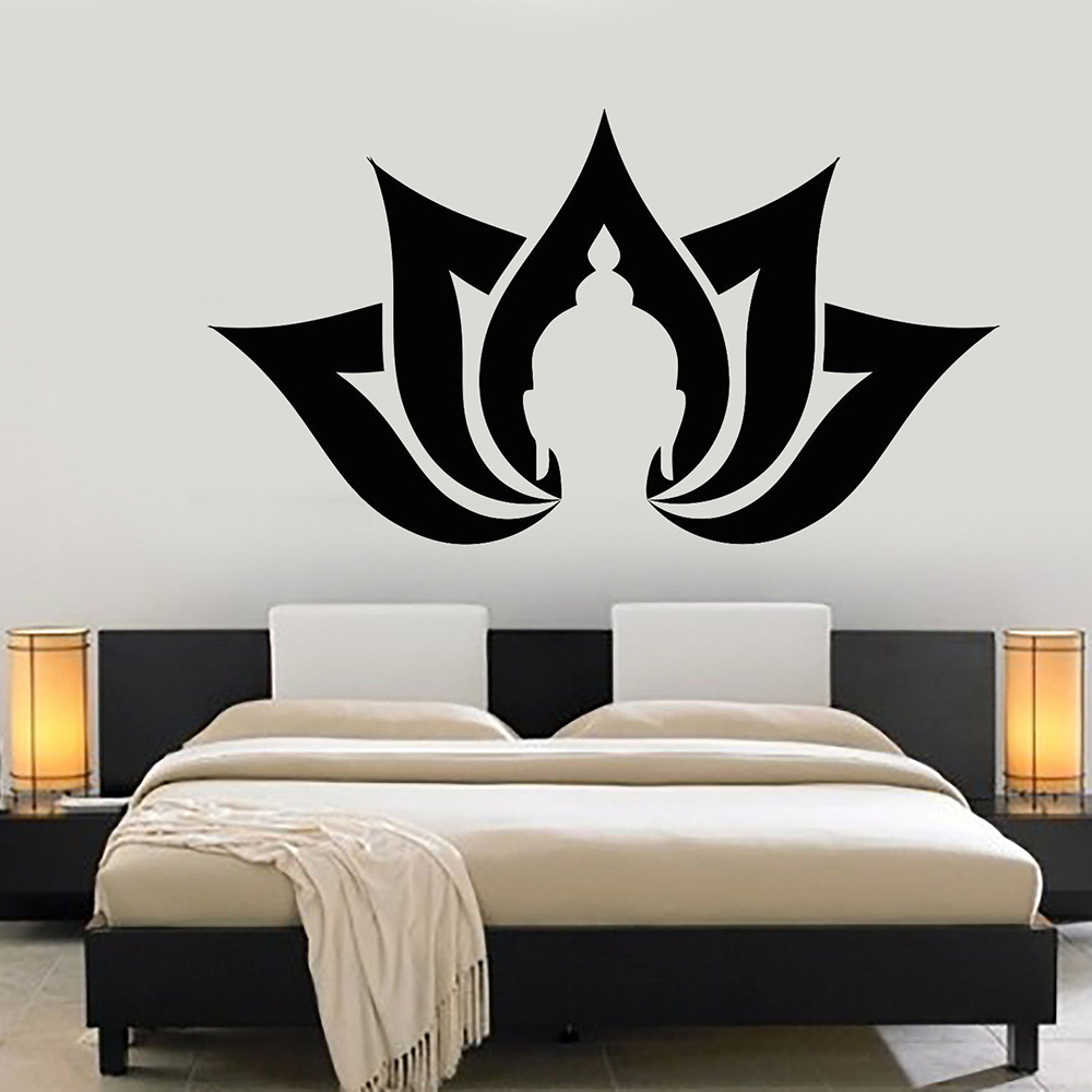 US $8.09 24% OFF|Lotus Flower Buddha Vinyl Wall Decals Mural Yoga  Meditation Buddhism Stickers Bedroom Decoration Removable Wall Sticker  Z234-in Wall ...