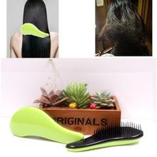 2016 Fashion Magic Detangling Handle Tangle Shower Hair Brush Comb Salon Styling Tamer Tool Green Comb BO