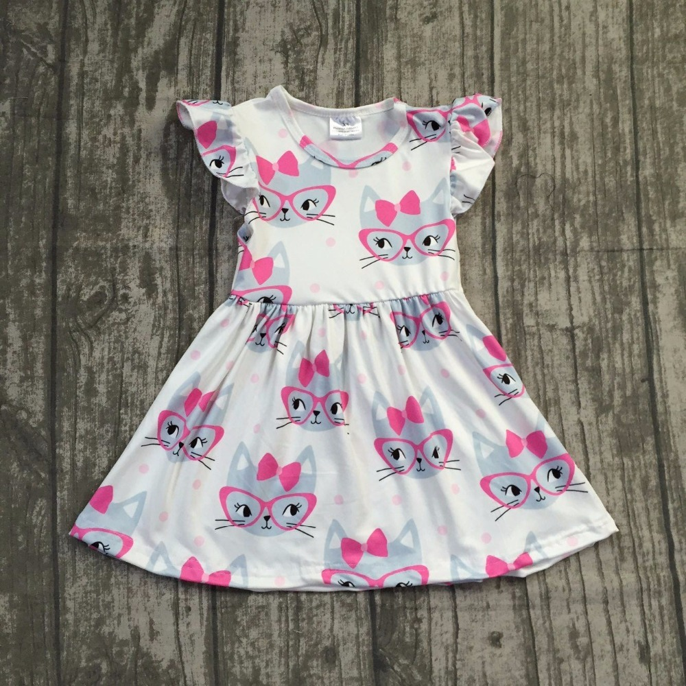 2018 Summer new arrivals cartoon cat pattern sleeveless dress Summer baby kids girls boutique maxi dress 12m-8t available