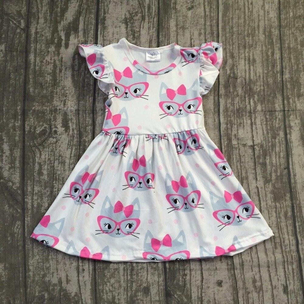 2018 Summer new arrivals cartoon cat pattern sleeveless dress Summer baby kids girls boutique maxi dress 12m-8t available