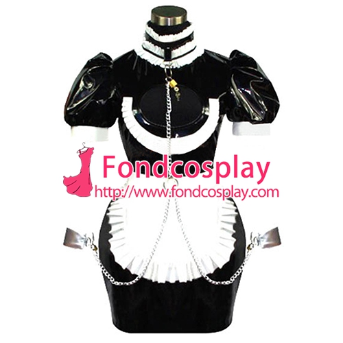 Sexy Sissy Maid Pvc Dress Uniform Lockable Cosplay Costume Tailor-made[CK844]
