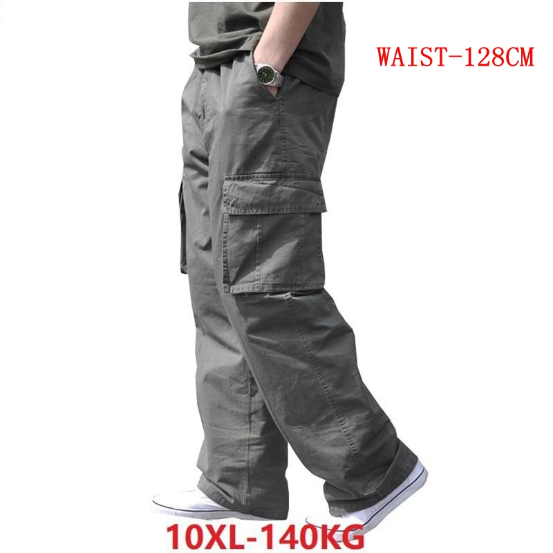 Spring Men Cargo Cotton Pants Pocket Large Size Big 8XL 10XL 9XL 140KG Loose Out Door Casual Safari Style Pants Black 46 48 50