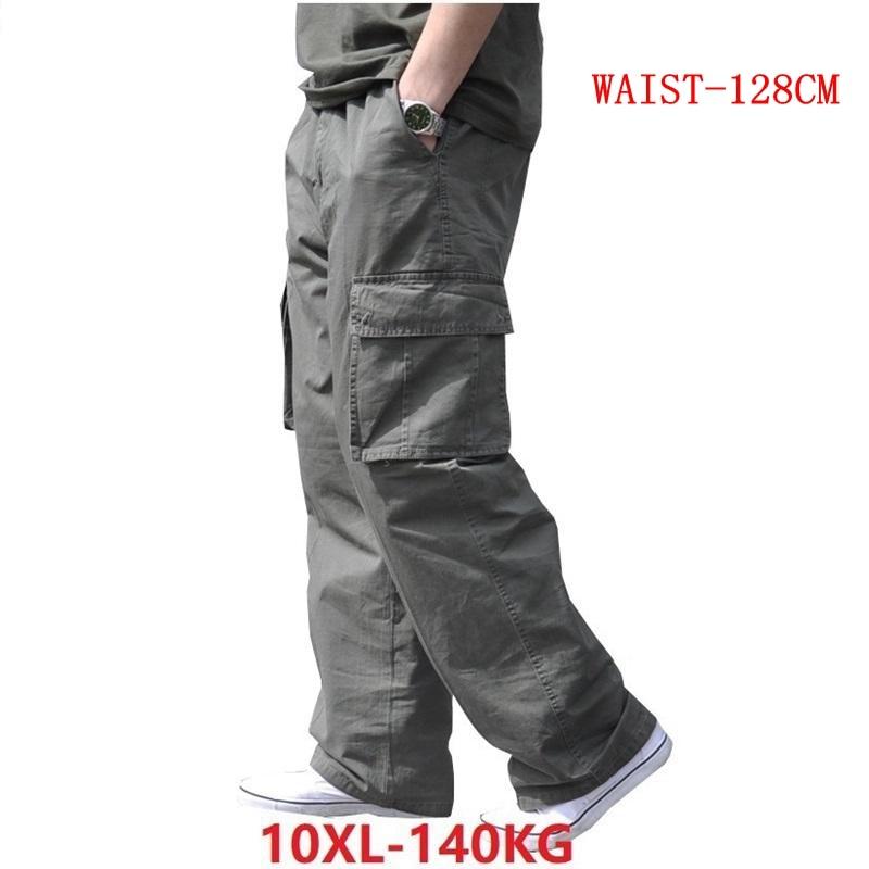 Spring Men Cargo Cotton Pants Pocket Large Size Big 8XL 10XL 9XL 140KG Loose Out Door Casual Safari Style Pants Black 46 48 50
