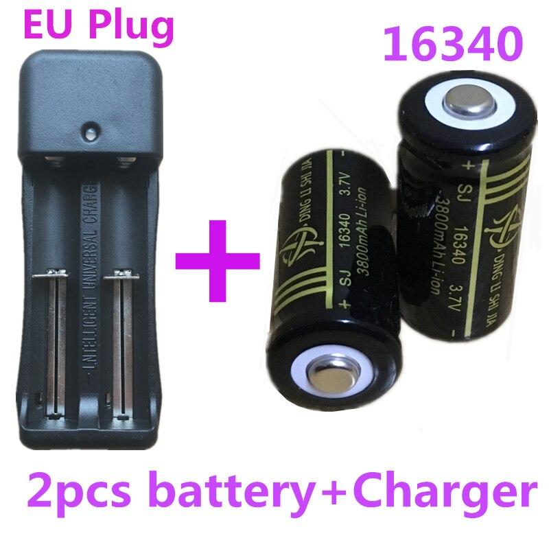 SJ 2 Pcs 16340 Bateria Li-ion de 3800 mAh 3.7 V bateria Recarregável Baterias Caneta Laser + UE Ficha 18650 Ajustable carregador de Bateria dupla