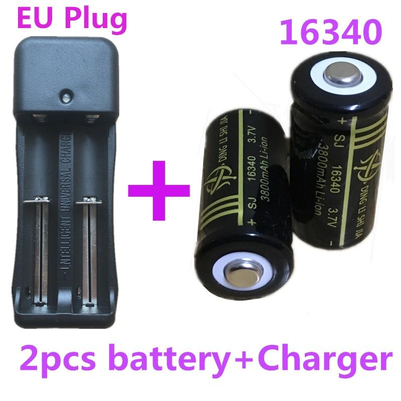 SJ 2Pcs 16340 Battery 3800mAh Li-ion Rechargeable battery 3.7V Laser Pen Batteries+EU Plug 18650 Ajustable Dual Battery Charger 2016 hot black 2 slots 18650 charger ac 110v 220v dual for 18650 battery 3 7v rechargeable li ion battery charger eu plug yl36