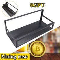 8 GPU Mining Rig Stackable Case 4 Fans Open Air Frame ETH ZEC Bitcoin NEW With