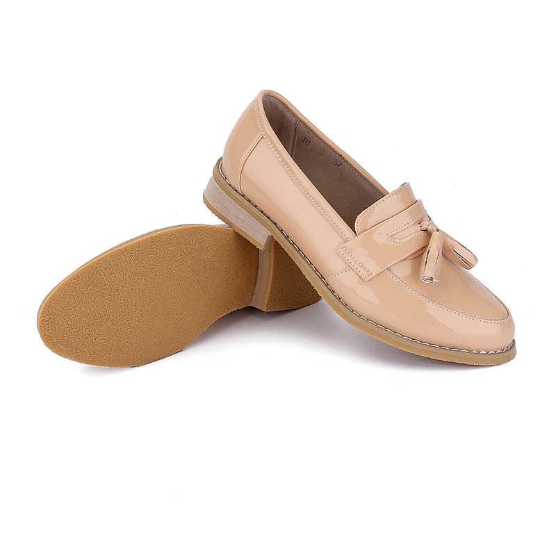 Moda marka kadınlar için İngiliz tarzı Oxford ayakkabı deri Brogues kadın Oxfords püsküller ile Platform Fringe Flats ayakkabı kadın