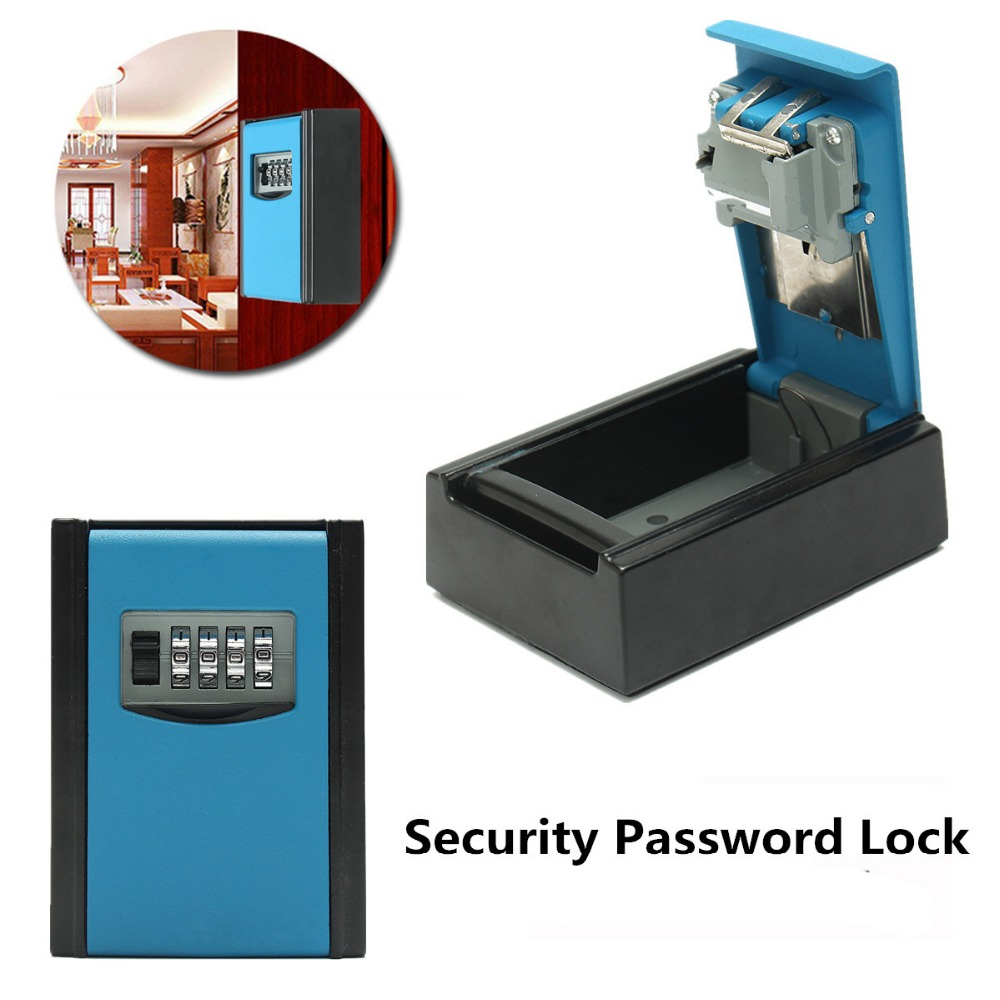 NEW Safurance 4 Digit Combination Password Safety Key Box Lock Padlock Organizer Wall Mounted Home Security Protection