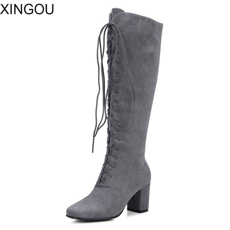Western women boots flock Knee high boots with square heel lining short plush heel high riding boots winter zipper knight boots boots women high heel black crystal winter zipper shoes 2017 round toe square heel knee high short plush platform leather boots