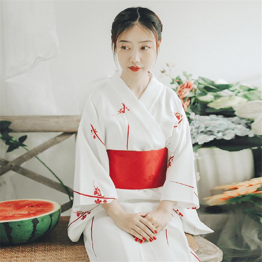 Kimono Cardigan Sakura Girl Traditional Japanese Costume Haori Yukata Dress Obi Suit Women Gesia Cosplay Costume Vintage Party 4