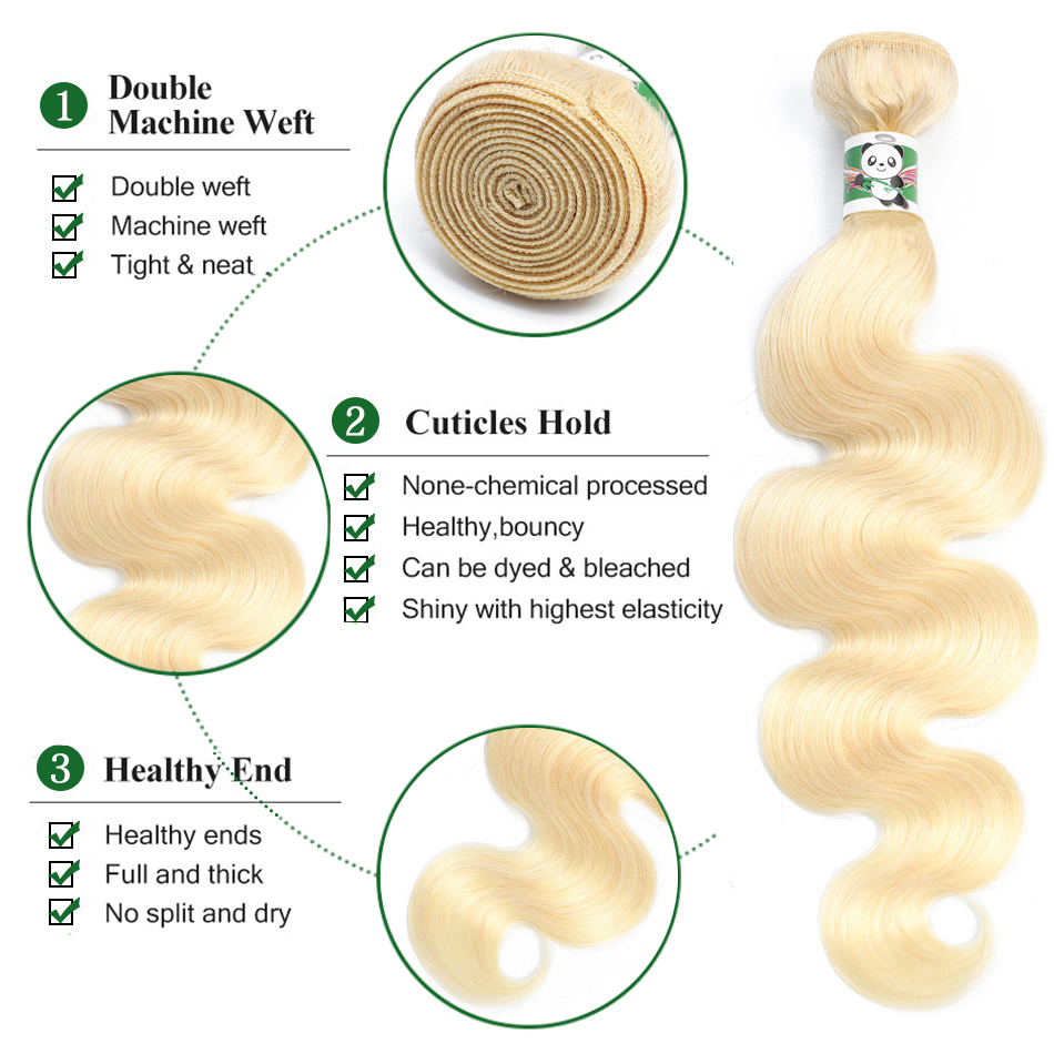 Panda Body Wave 613 Blonde Bundles Indian Remy Human Hair Extensions 1 pcs Blonde Hair Weave Bundles 8-28Inch Fast Shipping