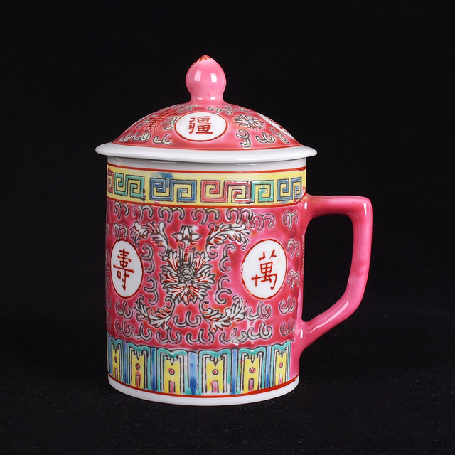 Traditional Chinese Jingdezhen Ceramic Blue and White Porcelain Mug Red/Blue/Yellow Tea Cup with Lid Drinkware 300ml