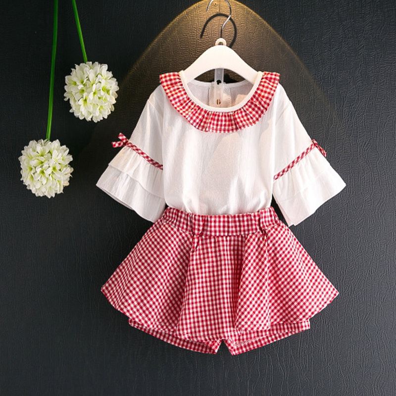 Children Clothes Girls Kids Summer Clothing Sets White Half Sleeve O-neck Shirt +laid Culottes Fashion Girl Clothes Size 7Children Clothes Girls Kids Summer Clothing Sets White Half Sleeve O-neck Shirt +laid Culottes Fashion Girl Clothes Size 7