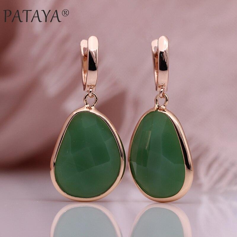 PATAYA Neue Unregelmäßige Grün Künstliche Zirkon Lange Baumeln Ohrringe 585 Rose Gold Frauen Feine Hochzeit Party Einfache Mode Schmuck