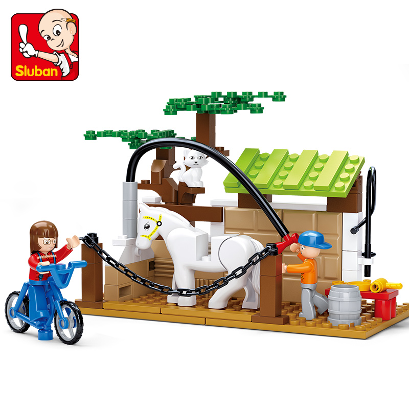 SLUBAN Happy Farm Building Blocks Sets Animal Model Bricks Horse Care Station educational DIY toys for children brinquedos hot sale 1000g dynamic amazing diy educational toys no mess indoor magic play sand children toys mars space sand