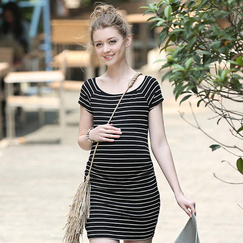 Cotton Stripe Pregnant Woman Dress New Summer Slim European And American Casual Style Round Neck Comfort Maternity Clothes