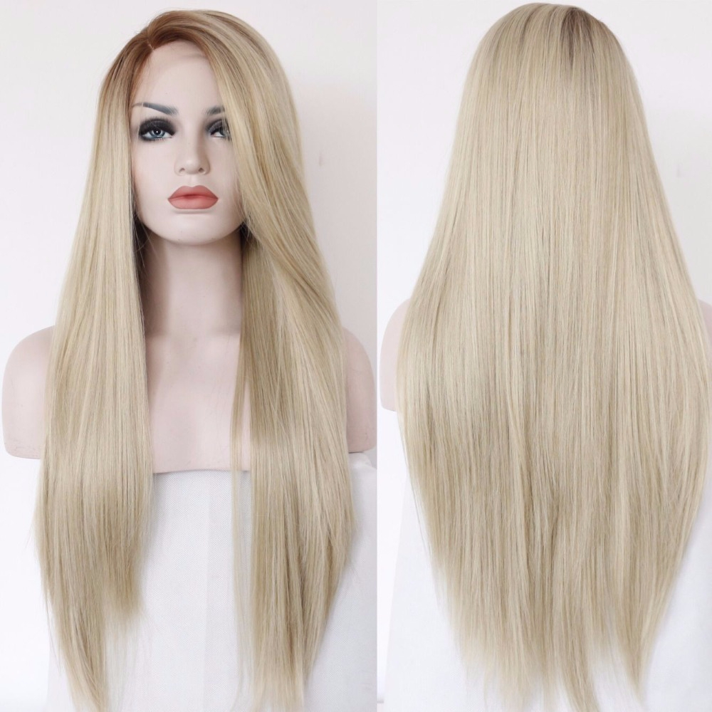 BeautyTown Light Brown Ombre Blonde Color Straight Heat Resistant Wedding Hair White Women Daily Makeup Synthetic