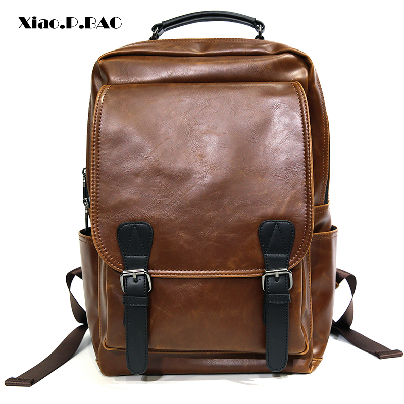 Excellent Quality PU Leather Men Backpack Large Capacity Fashion Trend Minimalist Design Waterproof Campus style Travel