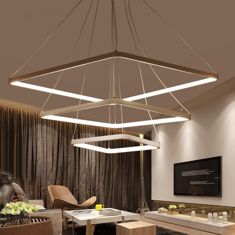 Square Ring circles modern led pendant lights for dining living room acrylic cerchio anello lampadario hanging pendant lamp new creative modern led pendant lights wave hanging lamp for dining room living room acrylic pendant lamp 85 265v lampadario