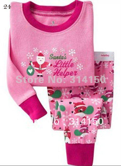 FREE SHIPPING--Santa Claus design sleepwear sets Christmas clothes girls pajamas sets kids indoor wearing night suit 1set /lot