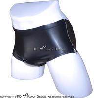Black Sexy Latex Panties With Zippers At Two Sides Rubber Shorts Underpants Underwear Pants Plus Size DK 0067