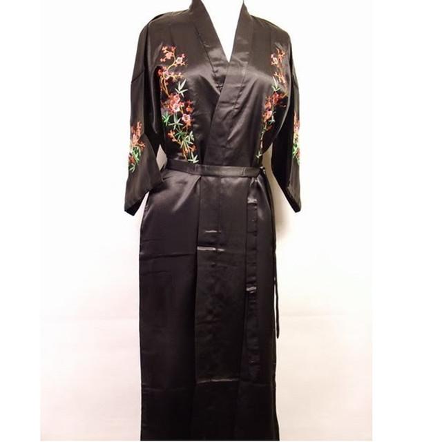 Hot Nueva Dama de Noche Vestido de Bata de Satén Bordado ropa de Dormir Kimono Vestido Floral Salón Wear Dropshipping Tamaño S A XXXL