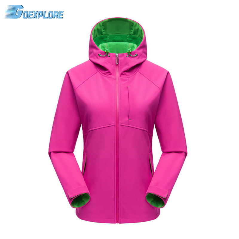 Goexplore Softshell Jacket Women Waterproof Hooded Spring Autumn Thermal Fleece Outdoor Hiking Clothing Fishing Climbing Coat