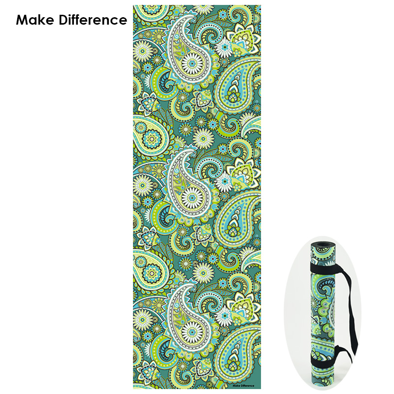 Make Difference Indian Floral Paisley Design Yoga Mat Non-slip Yoga Carpet Natural Rubber Fitness Exercise Mats with Strap 3.5mm dmasun slip resistant yoga blanket good quality gymnastics yoga mat towel non slip fitness bikram towels