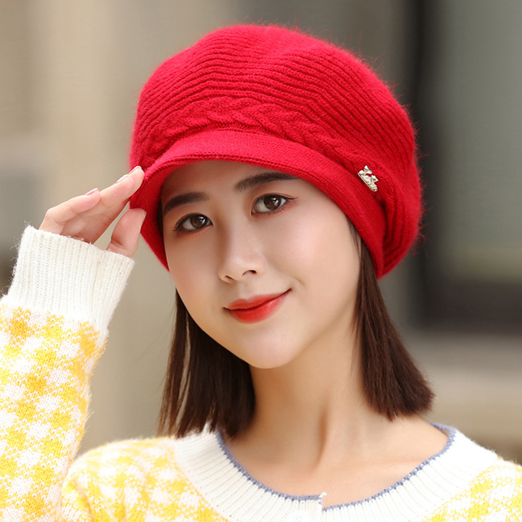 2019 Fashion Hat Women Solid Knitted Hat Winter Warm Beret Baggy Beanie Hat Slouch Ski Cap Hot sale