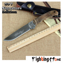 Browning 440C Drop blade wood handle fixed blade hunting straight knife camping survival outdoors EDC knives tool