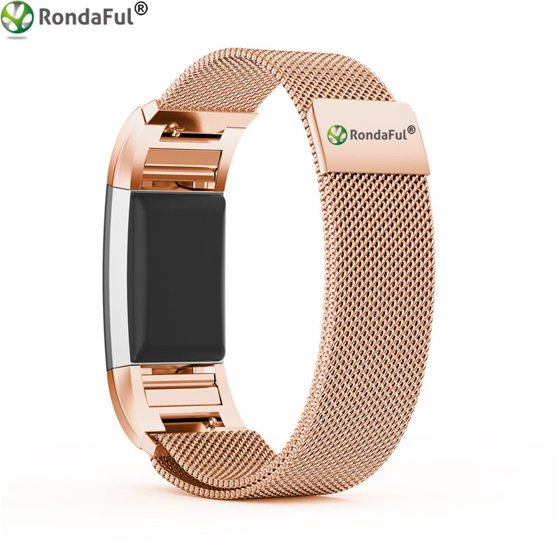 Rondaful Vervangende Polsband voor Fitbit Lading 2 Band Magnetische Milanese Rvs Armband voor Fitbit Lading 2 Band
