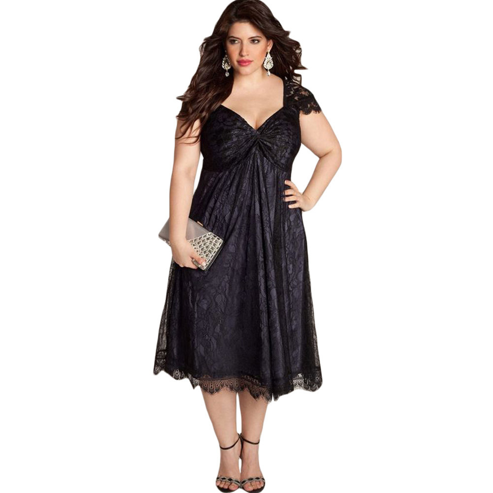 Ladies Gowns: Elegant Ladies Dresses Plus Size Lace Women Dress Sexy Fat