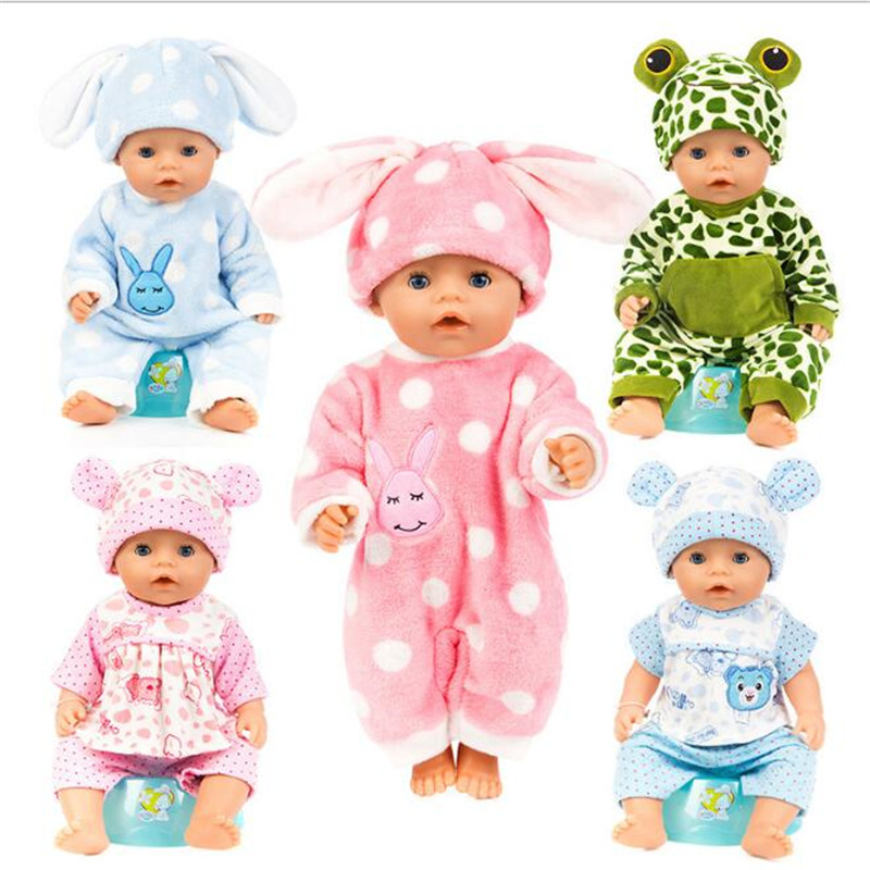 Born Baby Fit 18 Inch 43cm  Doll Clothes  Three Blue Rabbit Blue Rabbit Frog Blue Bea Doll Accessories For Baby Birthday Gift