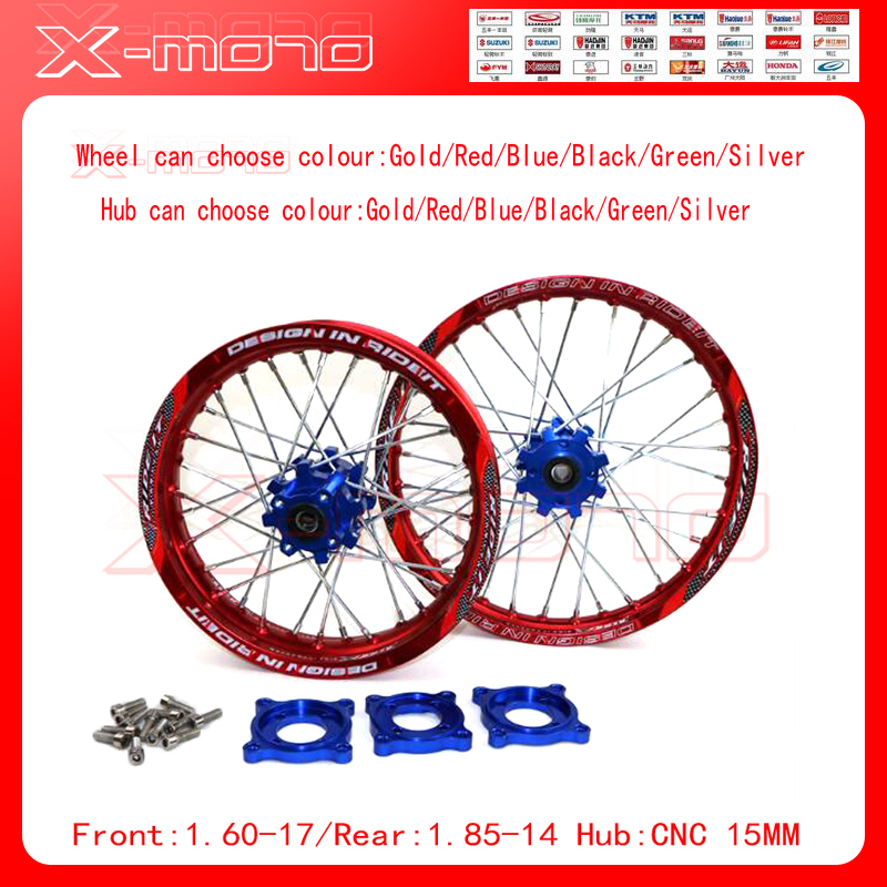 15mm Front 1.60-17 Rear 1.85-14 inch Alloy Wheel Rim with CNC Hub For KAYO HR-160cc TY150CC Dirt Pit bike 14/17 inch Red wheel front 1 60 17 rear 1 85 14 inch alloy wheel rim with cnc hub for kayo hr 160cc ty150cc dirt pit bike 14 17 inch motorcycle wheel