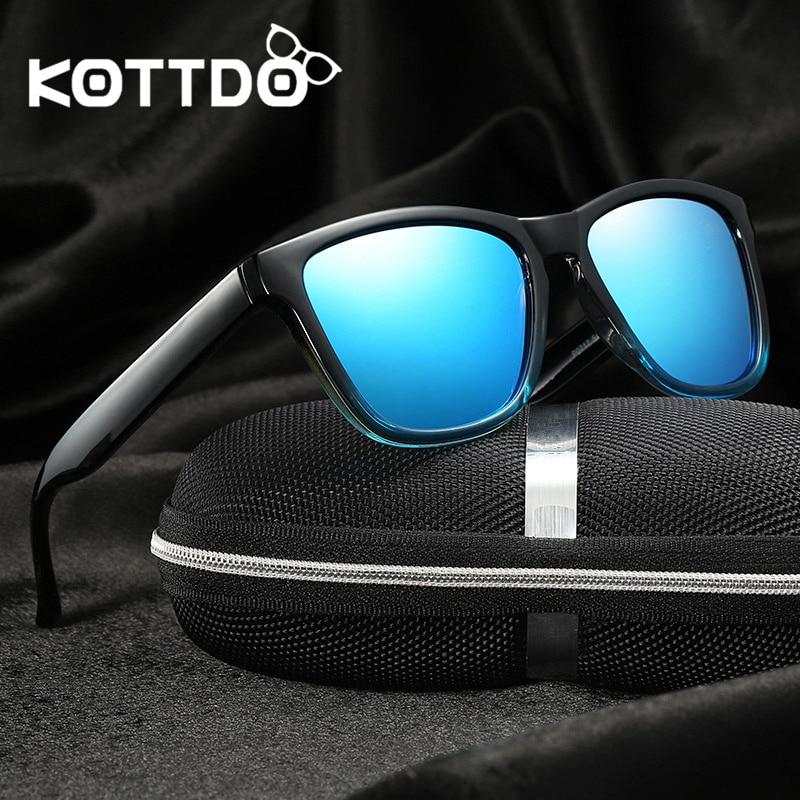 KOTTDO 2018 Mode Heren Gepolariseerde Zonnebril Dames Zwart Frame Eyewear Mannelijke Vierkante Retro Shades Merk Zonnebril UV400