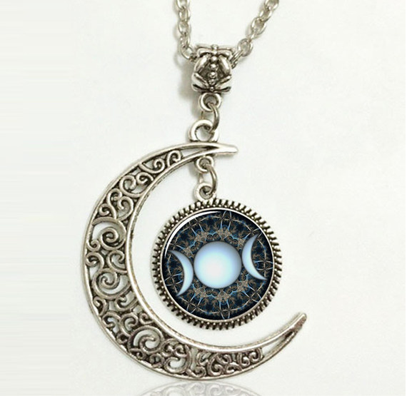 Online shop triple moon goddess pendant wiccan jewelry moon goddess triple moon goddess pendant wiccan jewelry moon goddess necklace witch necklaces glass dome choker necklace moon jewellery aloadofball