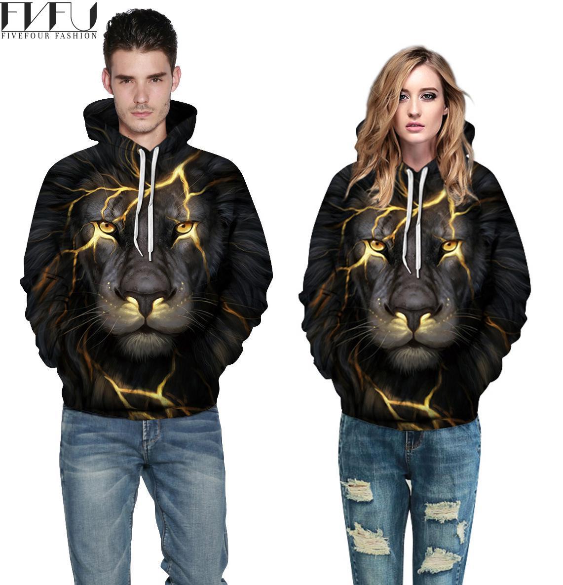 Fashion 2018 Hoodies Sweatshirt Women/men Couples Tops Halloween Hoodies Harajuku Lion 3D Print Black Casual Hoodies Plus Size
