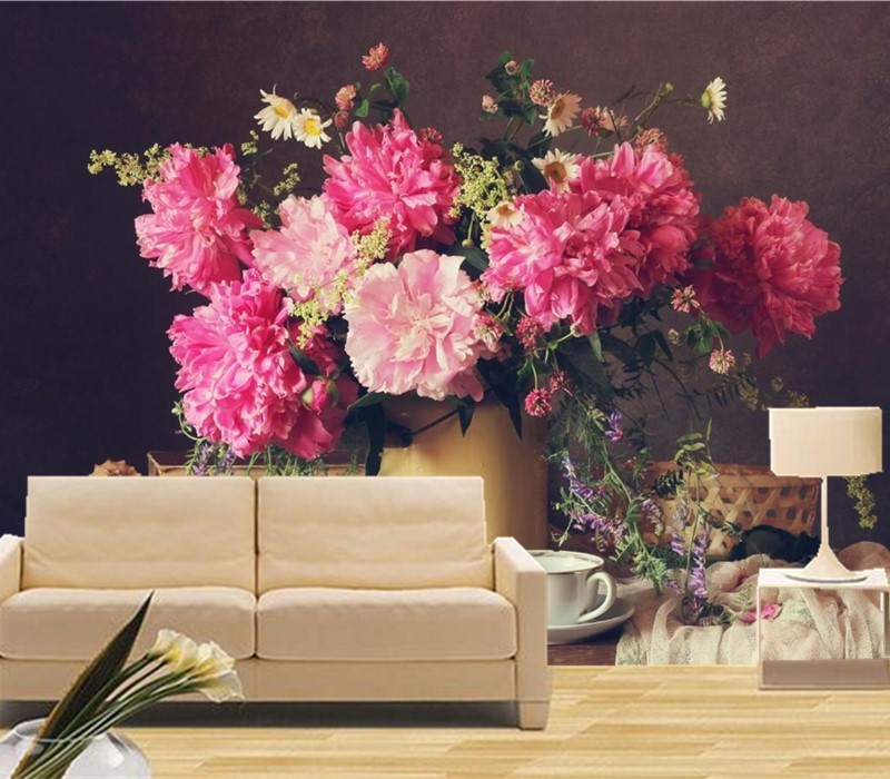 Custom 3D murals, Still beautiful bouquet vase papel de parede,hotel ...