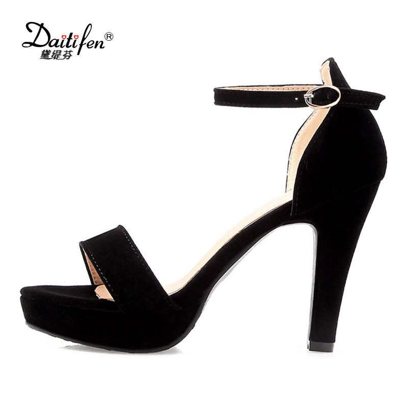 Daitifen woman Sandals 2018 summer Ankle strap shoes concise Solid color sandale Open toes high Spike heels girls Dress sandals