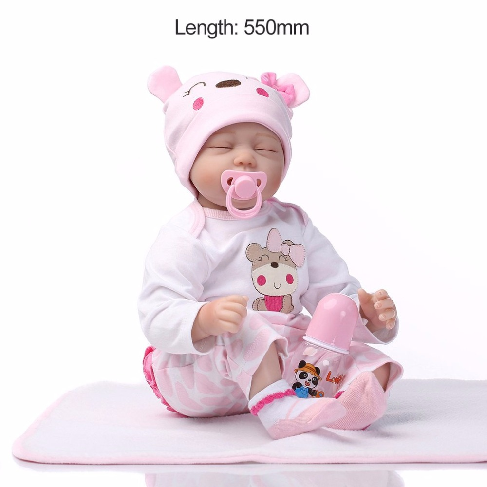 Cute 55cm Sleeping Reborn Baby Doll Toy Close Eyes Pink Clothes Soft Body Silicone Newborn Doll For Girls Early Education ToysCute 55cm Sleeping Reborn Baby Doll Toy Close Eyes Pink Clothes Soft Body Silicone Newborn Doll For Girls Early Education Toys